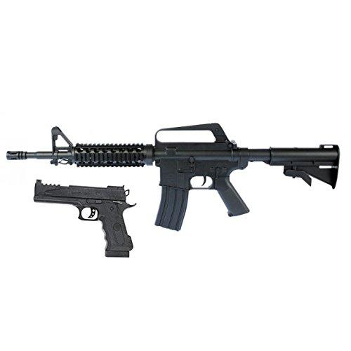 Softair-Gewehr MR A8 SET mit SWAT Softair-Pistole schwarz unter 0,5 Joule ab 14 Jahre ABS 6 mm Federdruck Kinder-Pistole Kinder-Gewehr