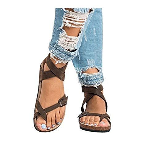 Frauen Gladiator Flache Sandalen Clip Toe Kreuzgurte Verstellbare Schnalle Slingback Kork Sandale Sommer Freizeitschuhe Cork High Heel Slingback