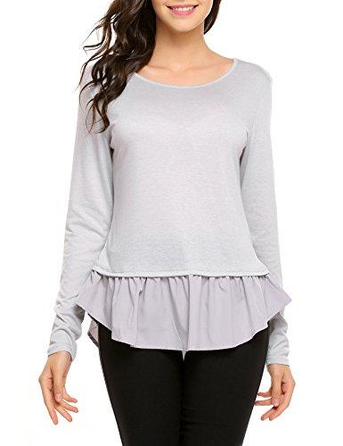 Beyove Damen Herbst Frühling Langarmshirt Hemd Rundhals Tops Shirt Bluse Loose Casual Bluse Oberteil Sweatshirt (Plissee-rüschen-jacke)