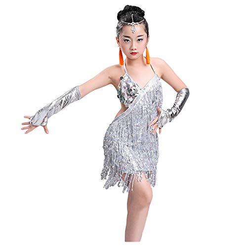 Meijunter Lateinischer Tanzrock - Sling Quaste Paillette Tanzen Kleid Salsa Samba Rumba Tango Jazz Outfits Karneval Performance Kostüme