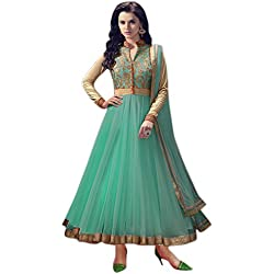 OmSai Fashion Women's Clothing Semi-Stiched New Anarkali Soft Net Salwar Suit With Duppata