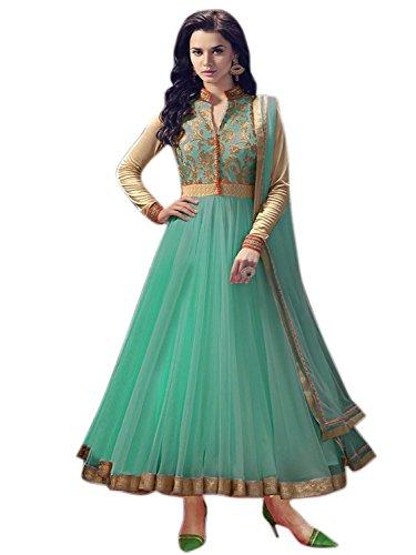 Omsai Fashion Women\'s Net Dress Material (Rj080 Green_Free Size_Green)