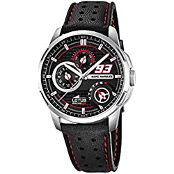 Lotus Marc Marquez Collection 2015 Men's Quartz Watch with Black Dial Analogue Display and Black Leather Strap 18241/4