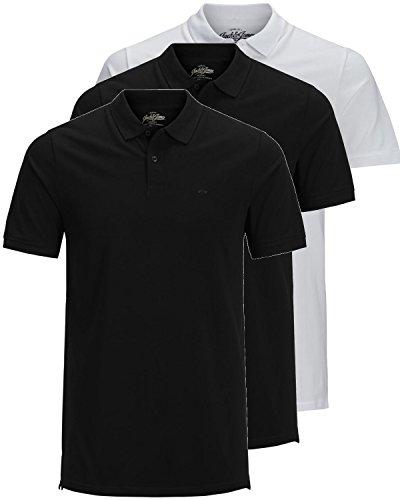 JACK & JONES 3er Pack Herren Poloshirt Slim Fit Kurzarm schwarz weiß blau grau XS S M L XL XXL Einfarbig Gratis Wäschenetz von B46 (3er Pack Mix1, L) - Blau Prime T-shirt