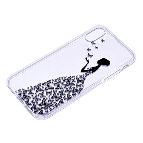inShang iPhone X 5.8inch custodia cover del cellulare, Anti Slip, ultra sottile e leggero, custodia morbido realizzata in materiale del TPU, frosted shell , conveniente cell phone case per iPhone X 5. butterfly girl