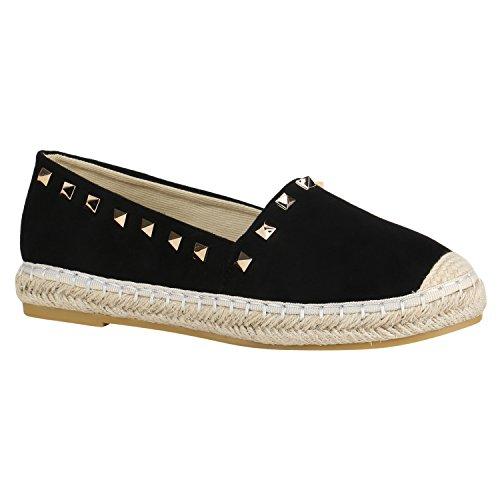 Damen Schuhe Slipper Espadrilles Bast Lack Flats Freizeit 155965 Schwarz Bast Nieten 36 Flandell (Lack-espadrilles Schwarze)