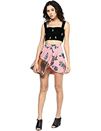 0b75133fd21 Roving Mode Women's Rose Print Faux Wrap Mini Skirt