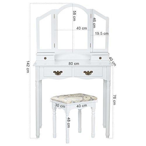 Langria coiffeuse meuble maquillage avec 3 miroirs 4 tiroirs pieds r sistantes style victorien - Meuble pour se maquiller ...