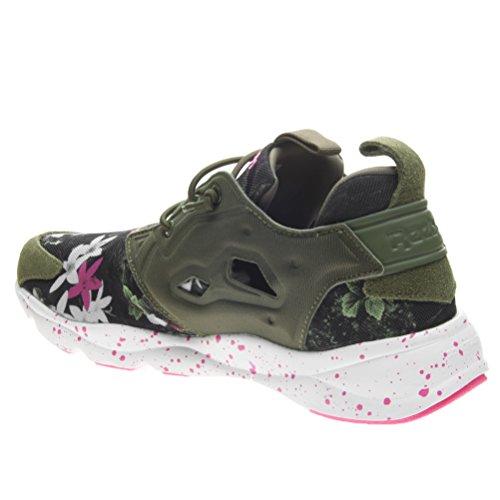 Reebok Furylite Np, Scarpe Low-Top Uomo, Grigio Verde / Bianco / Rosa (Canopy Green/White/Solar Pink)