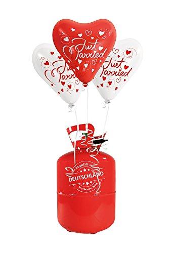(galleryy.net 35x Herzballons Just Married rot/weiß Ø30cm beidseitig Bedruckt + Helium Ballongas 50x Ballonflugkarten Premium Ballons vom Luftballonprofi & Deutschen Heliumballon Experten)