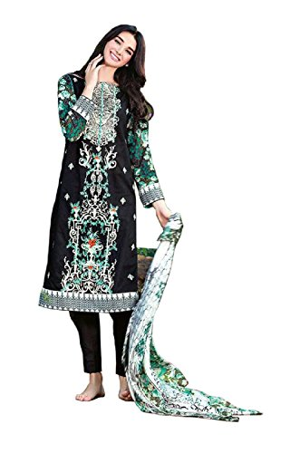 Madeesh Pakistani Suit for Women, Pure Cotton With Embroidery Top, Printed Bottom,...