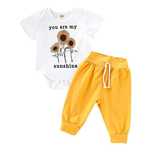 Tyoby Baby Sonnenblumen Druck Bodys+Einfarbige Hose Zweiteiliges Set,Sommer Erfrischend Babykleidung(Weiß,70) (My Little Pony-kleinkind-kleid)