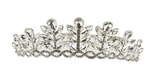 Damen Extra glitzernden Leaf Logo, versilbert, runde Ende Tiara Swarovski-Kristalle