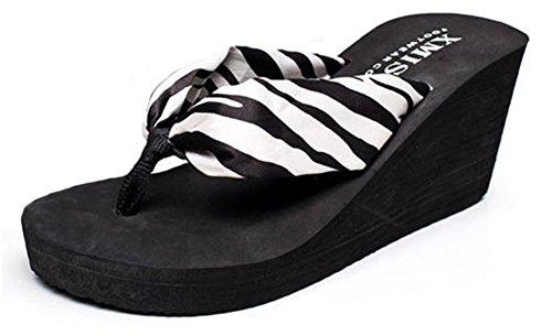 Good Night Chaussure de style bohème talon compensé Sandales de plage pour femme zèbre