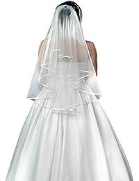 Bridal Wedding Veil 2 Tier with Comb Ivory White Long Soft Veil Elegant Hair Veil Satin Edge Cathedral Hen Night Fancy Dress Tulle Veil Head Wear Wedding Accessory Waist Length