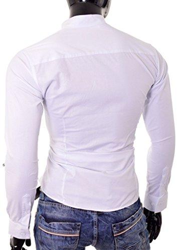 D&R Fashion Herren Elegantes Hemd mit Stehkragen Slim Fit Weiß Schwarz Baumwolle Weiß