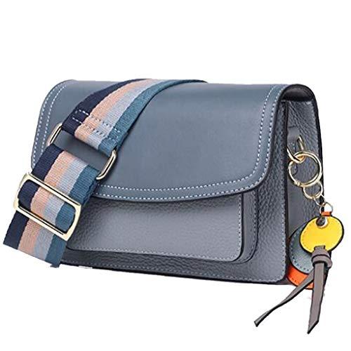 Damen Umhängetasche Koreanische Version der vielseitigen schulterumhüllten Handtaschen aus Leder im Hong Kong-Stil (Color : Blue, Size : 23 * 7 * 16cm)