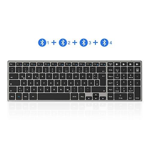seenda Bluetooth Tastatur, Deutsches Layout QWERTZ, Ultra Dünn wiederaufladbare Aluminium Kabellose Tastatur, Full-Size Multi-Device Funktastatur kompatibel für Windows, Mac OS, iOS, Android