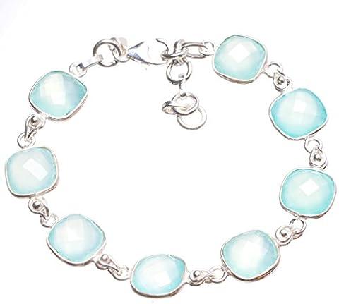 StarGems(tm) Natural Chalcedony Handmade Indian 925 Sterling Silver Tennis Bracelet 7 1/4-8 1/4