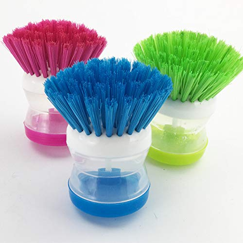 Aryshaa 3 Pcs Cleaning Brush with Soap Dispenser for Kitchen, Sink, Dish Washer (Multicolor)