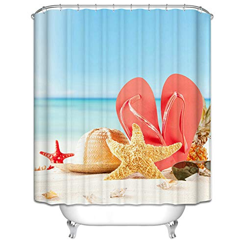 KnSam Wasserdicht Schimmelresistent Waschbar Badvorhang Anti-Schimmel Seestern Conch Strohhut Sonnenbrille Hausschuhe 165X200cm Duschvorhang