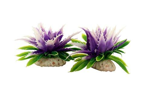 SRI Fish Aquarium Decorative Artificial Small Flower (PURPLE WHITE)