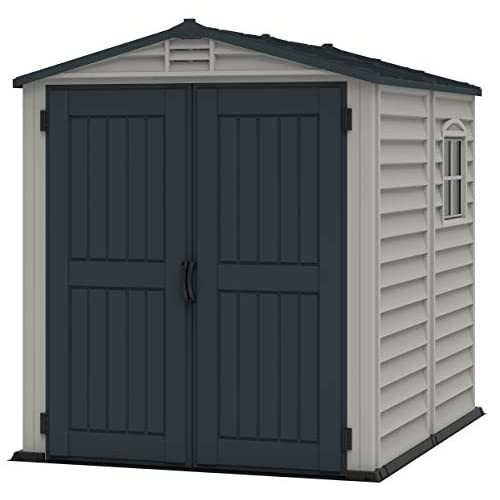 Duramax StoreMate 6′ x 6′ PLUS Plastic Garden Shed with Plastic Floor & Fixed Window – Anthracite & Adobe – 15 Years Warranty