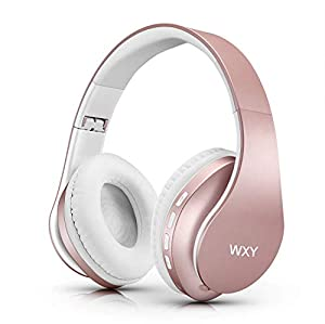 WXY Wireless Bluetooth Headphones Over Ear, Stereo Wired Headsets V5.0 with Microphone, Foldable & Lightweight, Support iPhone/Samsung/Huawei/PC/Tablets - Rose Gold