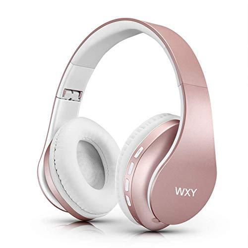 WXY Wireless Bluetooth Kopfhörer über Ohr, kabelgebundene Stereo-Headsets V5.0 mit Mikrofon, faltbar und leicht, Unterstützung für iPhone/Huawei/PC/Tablets - Rose Gold