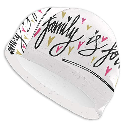 GUUi Swimming Cap Elastic Swimming Hat Diving Caps,Inspirational Phrase Family is Forever Hand Writing Cute Hearts,for Men Women Youths (Care Bears Forever Friends)