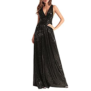 WIWIQS Women Sequin Bridesmaid Dress Sleeveless Maxi Evening Prom Dresses - Black - Small