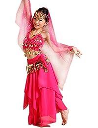 Seawhisper Danse du Ventre Costume set Carnaval Paillettes Licou Top, jupe, Costume d'Halloween, Fille