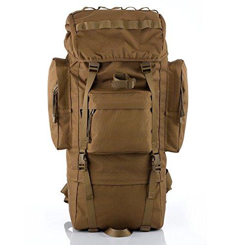 Imagen de yakeda®bolsos del alpinismo al aire libre tácticos hombros  bolsas de hombres y mujeres bolsa impermeable de gran capacidad de camuflaje  marco interno paquete 65l  11 color de barro
