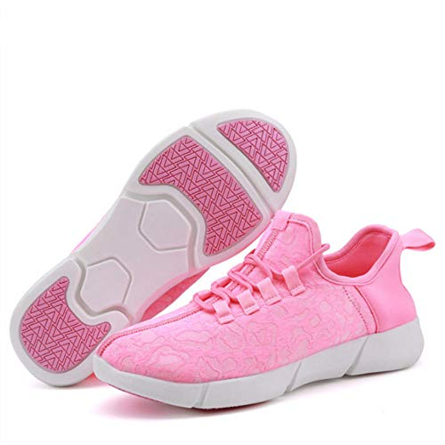 WUANNI Scarpe LED Unisex Uomo Donna Sneaker Sportive Luminose Carica USB Scarpe LED Lampeggiante.-Fibra Rosa_42
