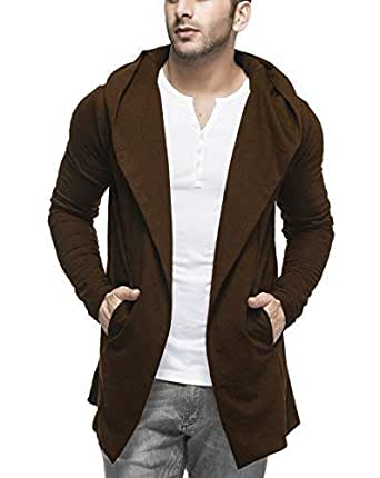 Tinted Men's Cotton Blend Cardigan (TJ5401-COFFEE-S, Coffee, Small)
