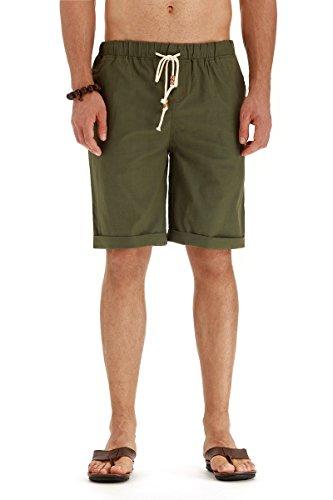 POSESHE Herren Drawstring Elastisch Leinen Sommer Beach Knielang Hosen (Armeegrün L)
