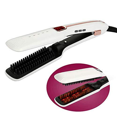 Planchas para el pelo, Cepillo Alisador Eléctrico Para El Cabello Cepillo Endurecedor Iónico 2 En 1 Plancha De Hierro Con Función Anti-Escaldadura Hogar