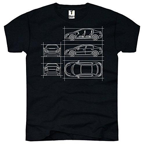 TEE-Shirt, Herren T-Shirt mit Aufdruck . Coole Motive. T-Shirt mit Auto - Zeichnungen Druck. Schwarz