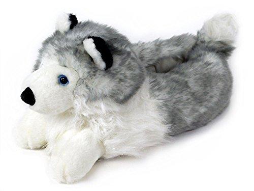 BunnySlippers Hausschuhe mit Husky Hund Design, für Damen und Herren Einheitsgröße