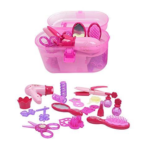 GZQ 1 Set Juguete Peluquería y Belleza,, Jueguete del Cosmetico para Niña,Juguetes con maletin Belleza Princesa,Color Rosa