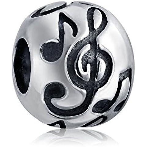 Bling Jewelry 925 Sterling Silver rotonda note musicali branello di fascino - Musica Nota Charm