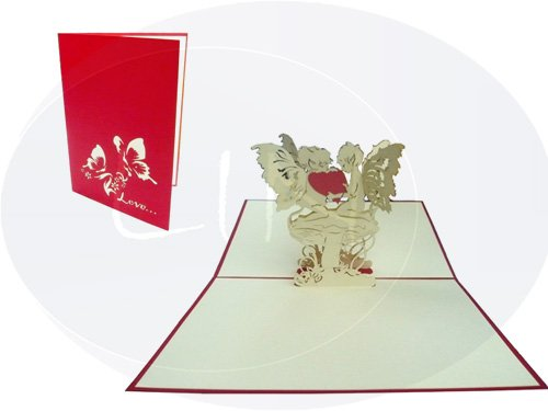 3D Pop-Up Grußkarte card-wedding Love Herz mit Schmetterling Motiv