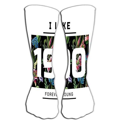 CVDGSAD Outdoor-Sport Männer Frauen Hohe Socken Strumpf drucken Slogan Nummer Lilien Wildblumen drucken Slogan Nummer Lilien Wildblumen - Trocknen Wildblumen