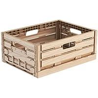 16litros efecto madera plástico plegable Euro apilables de almacenamiento Caja Contenedor cajas, Wood Effect