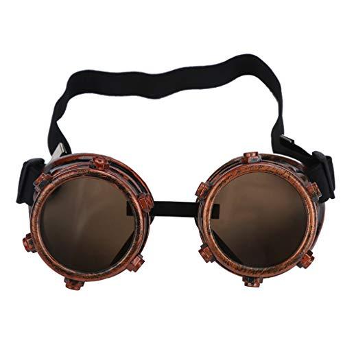 Zolimx Steampunk Goggles Vintage Style Schweißpunk Gläser (D)