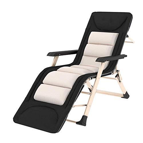 HCP reclining chair Liegestuhl - Klappbare Gartenliege Gepolsterte Klappliege Mit Abnehmbarer Kopfstütze, Büro-Freizeitliege Sonnenliege Im Freien Für Den Strandbalkon (größe : 185cm) -