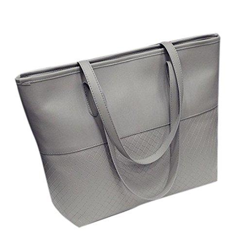 Internet Femmes Solide Rayures tissées Sac à main de Toile sac à bandoulière Trapèze 40cm*12cm*30cm Gris