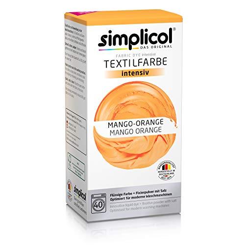 Simplicol Textilfarbe intensiv (18 Farben), Mango-Orange 1802: Einfaches Färben in der Waschmaschine, All-in-1 Komplettpackung -