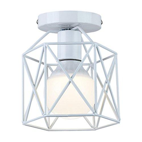 Liusun liulu mini plafoniere da soffitto, metallo retrò industriale lampada da soffitto per cucina (bianca)