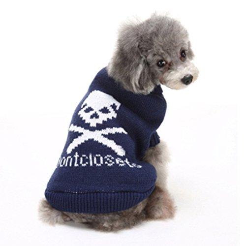 GWELL Hund Hundepullover Hundepulli Winter Strickpullover Sweater Cardigan Weihnachten Fasching Kostüme für kleinen großen Hund Katze Blau Groß-Schädel ()